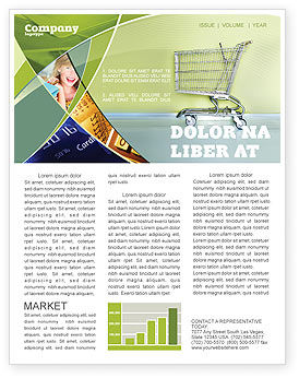 Financial/Accounting: Shopping Cart On Olive Background Newsletter Template #03208