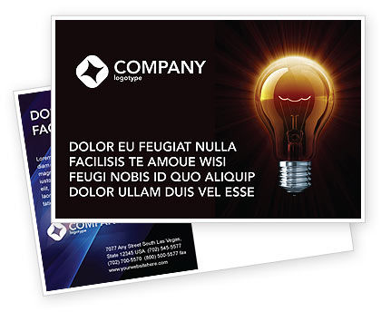 Business Concepts: Light Bulb Postcard Template #03218
