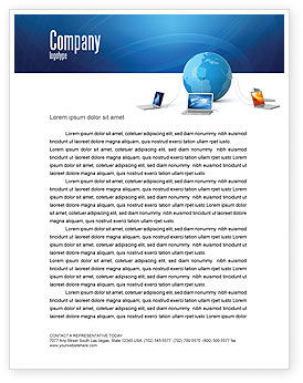 Technology, Science & Computers: Global Connection Letterhead Template #03220