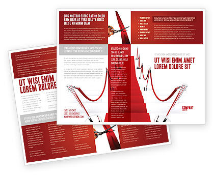 Red carpet path brochure template design and layout for Red brochure template