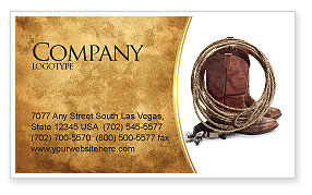 Cowboy Boots Business Card Template, 03224, America — PoweredTemplate.com