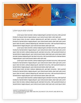 Technology, Science & Computers: Plantilla de membrete - llave de la puerta azul #03237