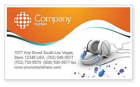 Technology, Science & Computers: Earphones Business Card Template #03283
