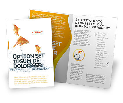 Jumping Goldfish Brochure Template, 03286, Agriculture and Animals — PoweredTemplate.com