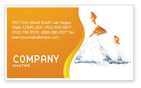 Jumping Goldfish Business Card Template, 03286, Agriculture and Animals — PoweredTemplate.com