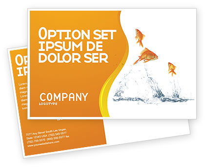 Jumping Goldfish Postcard Template, 03286, Agriculture and Animals — PoweredTemplate.com