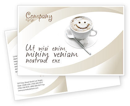 Cappuccino Cup Postcard Template, 03298, Food & Beverage — PoweredTemplate.com