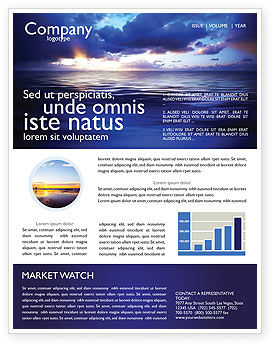 Sea Water Newsletter Template, 03324, Nature & Environment — PoweredTemplate.com