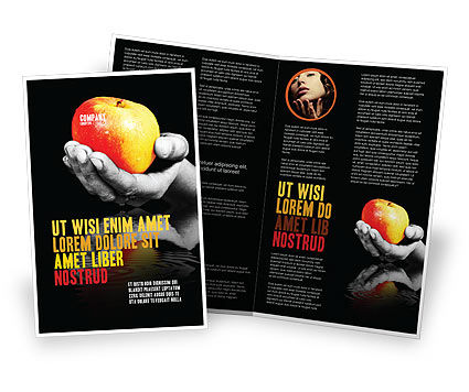 Reflection Of Apple In Hand Brochure Template, 03326, Business Concepts — PoweredTemplate.com
