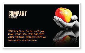 Reflection Of Apple In Hand Business Card Template, 03326, Business Concepts — PoweredTemplate.com