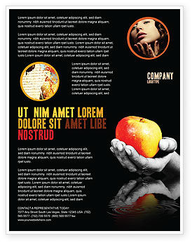 Business Concepts: Reflection Of Apple In Hand Flyer Template #03326