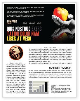 Reflection Of Apple In Hand Newsletter Template, 03326, Business Concepts — PoweredTemplate.com