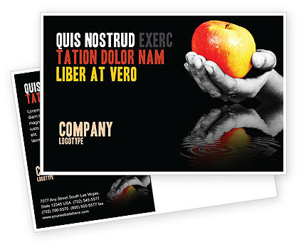 Reflection Of Apple In Hand Postcard Template, 03326, Business Concepts — PoweredTemplate.com
