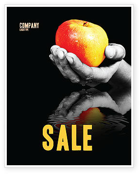 Reflection Of Apple In Hand Sale Poster Template, 03326, Business Concepts — PoweredTemplate.com