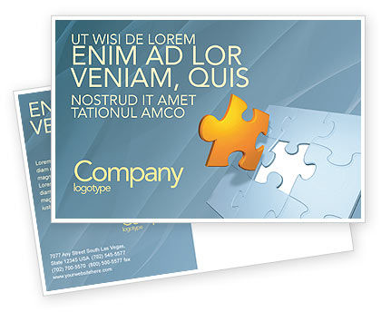 Business Concepts: Piece of Puzzle Postcard Template #03338