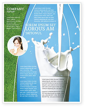 Glass Of Milk Flyer Template, 03357, Food & Beverage — PoweredTemplate.com