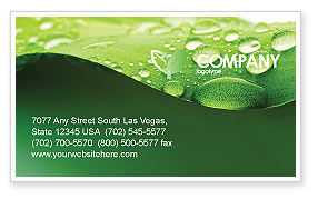 Abstract/Textures: Fresh Dew On The Green Leaf Business Card Template #03376