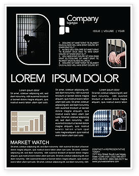 Legal: Prison Cell With Prisoner Newsletter Template #03377