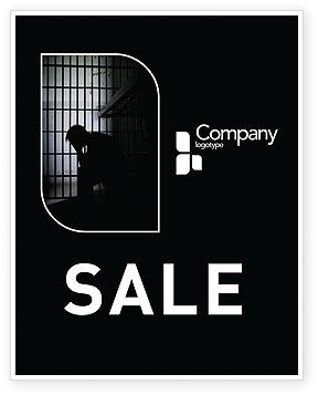 Legal: Prison Cell With Prisoner Sale Poster Template #03377