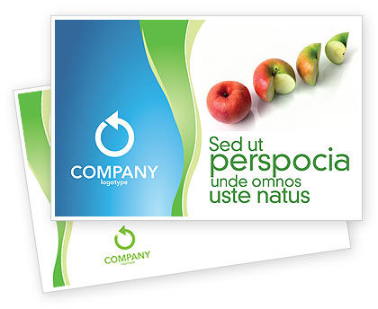 Business Concepts: Three Quarters Apple Postcard Template #03379