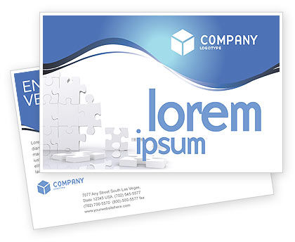 Business Concepts: Puzzle Wall Postcard Template #03387