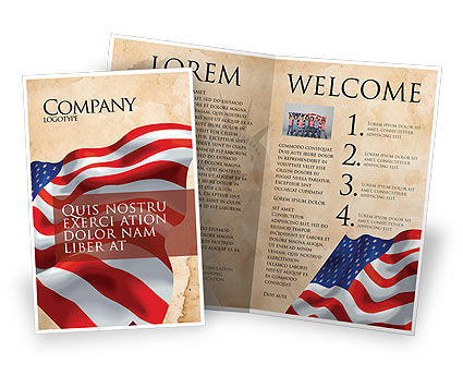 American Stars and Stripes Flag Brochure Template