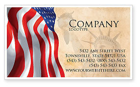 Holiday/Special Occasion: American Stars and Stripes Flag Business Card Template #03389