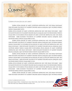 Holiday/Special Occasion: American Stars and Stripes Flag Letterhead Template #03389