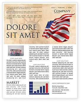 Holiday/Special Occasion: American Stars and Stripes Flag Newsletter Template #03389