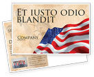 Holiday/Special Occasion: American Stars and Stripes Flag Postcard Template #03389