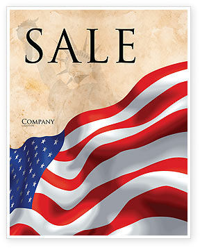 Holiday/Special Occasion: American Stars and Stripes Flag Sale Poster Template #03389