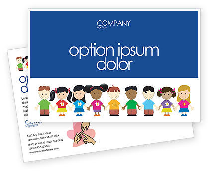 Childhood Postcard Template, 03391, Education & Training — PoweredTemplate.com