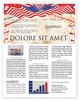 4th of July Celebration Free Newsletter Template, 03392, Holiday/Special Occasion — PoweredTemplate.com