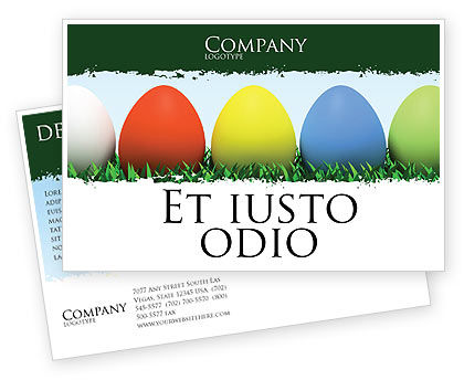 Easter Eggs Postcard Template, 03396, Holiday/Special Occasion — PoweredTemplate.com