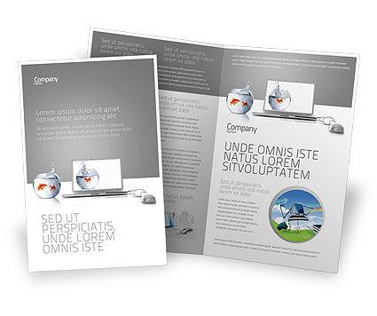 Multimedia Laptop Brochure Template, 03402, Business Concepts — PoweredTemplate.com