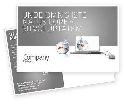 Multimedia Laptop Postcard Template, 03402, Business Concepts — PoweredTemplate.com