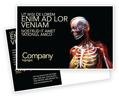 Female Anatomy Breast And Facial Bones Postcard Template, 03404, Medical — PoweredTemplate.com
