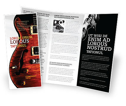 Art & Entertainment: Semi Acoustic Guitar Brochure Template #03419