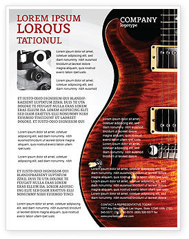 semi acoustic guitar flyer template background in microsoft word