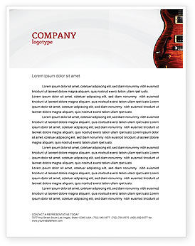 Semi Acoustic Guitar Letterhead Template, 03419, Art & Entertainment — PoweredTemplate.com