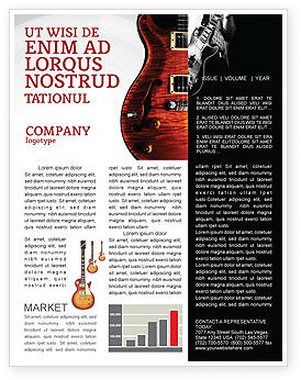 Semi Acoustic Guitar Newsletter Template, 03419, Art & Entertainment — PoweredTemplate.com
