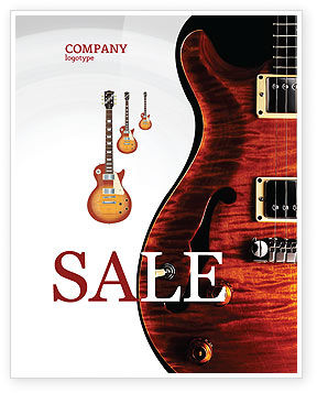 Semi Acoustic Guitar Sale Poster Template, 03419, Art & Entertainment — PoweredTemplate.com