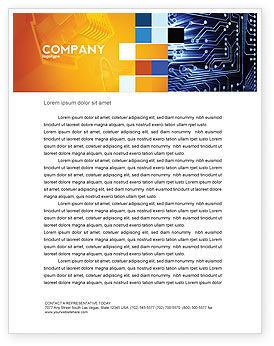 Circuit Board Letterhead Template, 03422, Technology, Science & Computers — PoweredTemplate.com