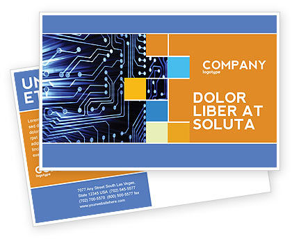 Technology, Science & Computers: Circuit Board Postcard Template #03422
