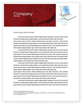 Technology, Science & Computers: Computer Laptop Letterhead Template #03424