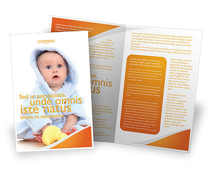 Little Baby Brochure Template, 03426, People — PoweredTemplate.com