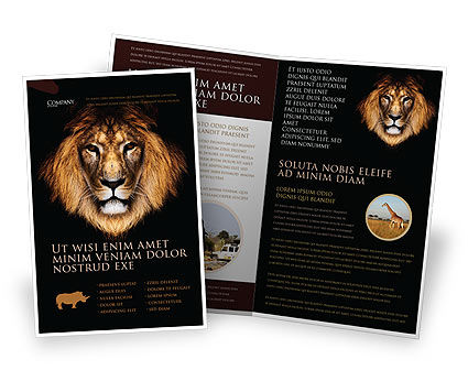 Lion With Red Mane Brochure Template, 03428, Agriculture and Animals — PoweredTemplate.com
