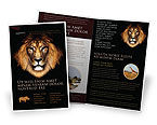 Agriculture and Animals: Lion With Red Mane Brochure Template #03428