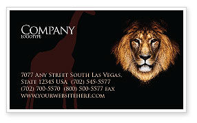 Lion With Red Mane Business Card Template, 03428, Agriculture and Animals — PoweredTemplate.com