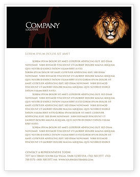 Nature & Environment: Lion With Red Mane Letterhead Template #03428